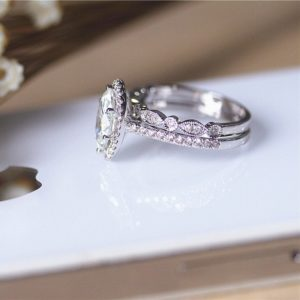 2.86 CT Marquise White Diamond Halo Engagement Ring Art Deco Bridal Set 925 Sterling Silver