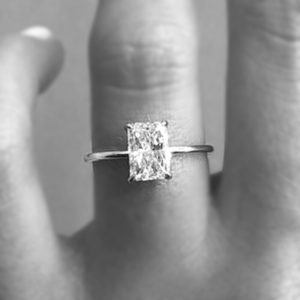 2.77 CT Radiant Cut White Diamond Solitaire Anniversary Engagement Ring 14k White Gold Over