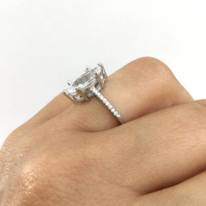 2.75 Ctw Marquise Cut White Diamond 6-Prong Solitaire Engagement Ring 14k White Gold Plated