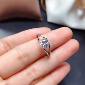 Unique 1.80 Carat Round Diamond Split Shank Fancy Engagement Ring 925 Sterling Silver