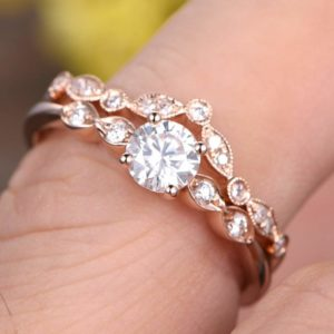 Art Deco Engagement Ring Set, 1.76 Ctw Brilliant Cut Diamond Wedding Ring Set Solid 14k Rose Gold