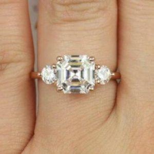 3.00 Ctw Asscher Cut & Round Cut Solitaire 3-Stone Diamond Engagement Ring Solid 14k Yellow Gold