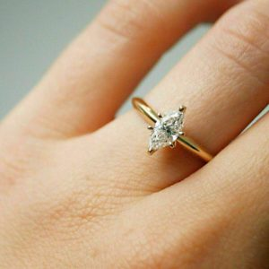 1.56 Ct Marquise Cut Diamond 6-Prong Solitaire Fancy Engagement Ring 14k Yellow Gold Plated