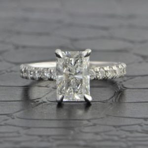 2.50 Carat Radiant Cut Diamond Solitaire With Accents Engagement Ring 14k White Gold Over