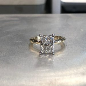 2.10 Carat Radiant Cut Diamond Solitaire 2-Tone Engagement Ring 14k Yellow Gold Over