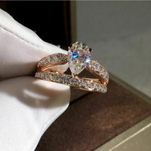 2.17 Carat Pear Shape Brilliant Diamond Unique Engagement Ring Solid 14k Rose Gold