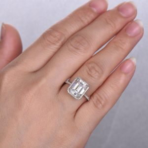 3.17 Ctw Emerald Cut White Diamond Classic Halo Engagement Ring Real 14k White Gold
