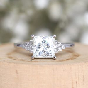1.88 Carat Forever One Princess Diamond Vintage Style Engagement Ring Solid 10k White Gold