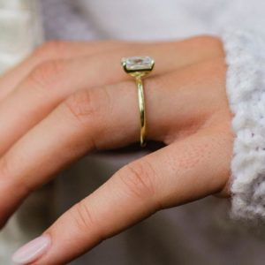 2.50 Carat Classic Radiant Cut Diamond Solitaire Engagement Ring Solid 10k Yellow Gold
