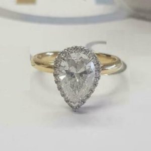 2.40 Ctw Pear Cut White Diamond Halo Best Wedding Engagement Ring 14k Gold Plated