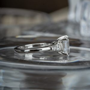 2.56 Ctw Asscher White Diamond With Side Baguette Classic Engagement Ring 14k White Gold