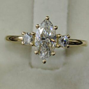 3.Ctw Marquise Cut & Round Cut White Diamond 3 Stone Engagement Ring 14k Yellow Gold