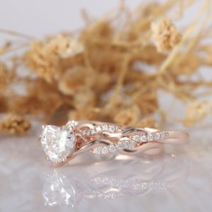 2.07 Ctw Solitaire Heart Shape Diamond Infinity Engagement Ring Set 14k Rose Gold Over