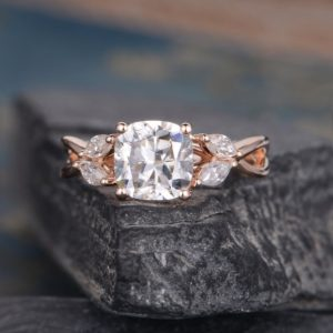 2.46 Ctw Solitaire Cushion Cut Diamond With Side Marquise Vintage Engagement Ring 14k Rose Gold