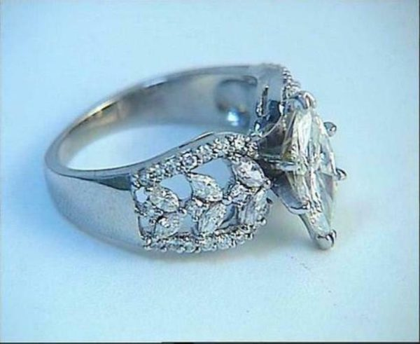 2.47 Ctw Marquise Cut Brilliant Diamond Antique Engagement Wedding Ring 925 Sterling Silver