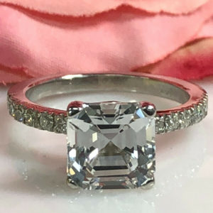 3.21 Ctw Solitaire Asscher Cut Diamond Wedding Engagement Ring Real 14k White Gold