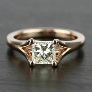 1.63 Ct Princess Cut Solitaire Diamond 2 Shank Engagement Ring 14k Rose Gold Plated