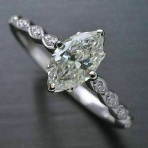 Antique 1.86 Carat Marquise Cut White Diamond Solitaire Engagement Ring 14k White Gold Plated