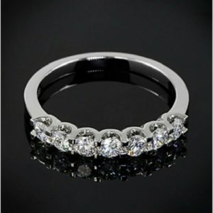 1.80 Carat Solitaire 7-Stone Round Diamond Anniversary Wedding Band Ring 14k White Gold