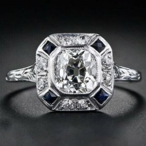 Art Deco Vintage 2.34 Ctw Cushion Diamond Bezel-Set Halo In 14k White Gold Plated Engagement Ring