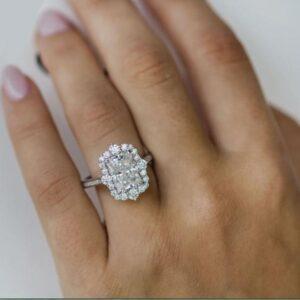 Antique Halo 2.46 Ctw Radiant White Diamond Wedding Engagement Ring 10k White Gold