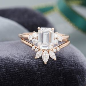 2.54 Ctw Solitaire Emerald Cut Diamond Vintage Engagement Ring Set 14k Rose Gold Plated