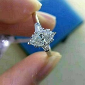 2.16 Ctw Solitaire Marquise Cut White Diamond Fancy Engagement Ring 925 Sterling Silver