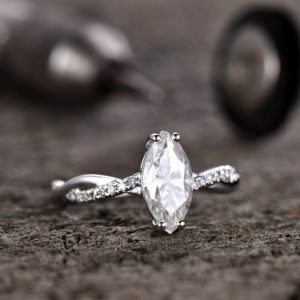 Infinity Engagement Ring, 2.12 Ctw Marquise Moissanite With Accent In 14k White Gold Over