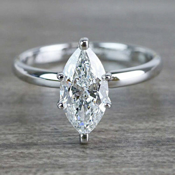 2.50 Carat 6-Prong Solitaire Marquise Cut Diamond Engagement Ring Real 14k White Gold