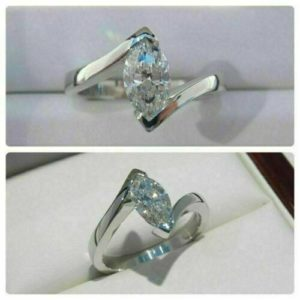 2.10 Carat Marquise Cut V-Prong Solitaire Diamond Best Engagement Ring Real 10k White Gold