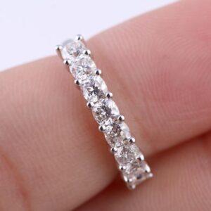 Half Eternity Engagement Ring 2.12 Ctw Cushion Cut Diamond Wedding Band Ring 14k Gold Plated