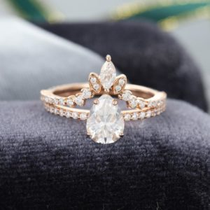 2.45 Ctw Pear Shape Solitaire Diamond Luxury Engagement Ring Bridal Set 14k Rose Gold