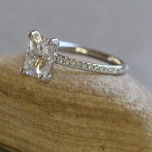 2.33 Carat Radiant Cut Solitaire Diamond With Accents Best Engagement Ring 14k White Gold Over