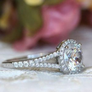 2.70 Ctw Brilliant Cut White Diamond Halo With 2 Shank Best Engagement Ring 14k White Gold