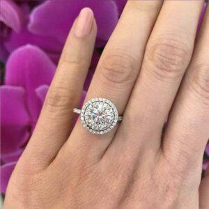 2.16 Ctw Round Cut Diamond Double Halo Wedding Engagement Ring 14k White Gold