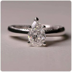 2.Carat Solitaire Pear Cut White Diamond Fancy Engagement Ring 14k White Gold Plated