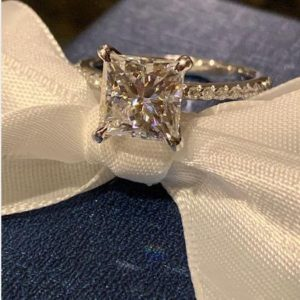 2.75 Carat  Princess Cut  Diamond Solitaire With Accents Engagement Ring Real 925 Sterling Silver