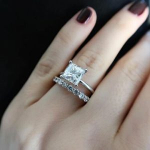 2.16 Ctw Princess Cut Diamond Solitaire Engagement Ring Wedding Band 14k White Gold Over
