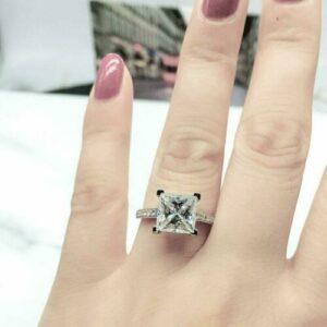Gorgeous 3.28 Ctw Princess Cut VVS1 Diamond Solitaire Engagement Ring Real 14k White Gold