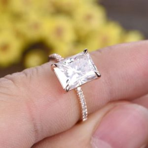 3.30 Carat Radiant Cut White Diamond Solitaire Engagement Ring Solid 14k Rose Gold, Gift Ring For Her