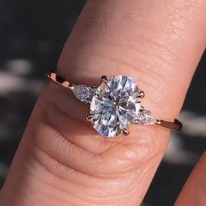 3.10 Carat Solitaire Oval & Pear Cut 3-Stone Diamond Wedding Engagement Ring 14k Gold Plated