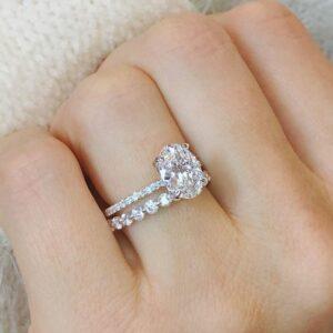 3.Ctw White Oval Cut Brilliant Diamond Hidden Halo Engagement Ring Bridal Set 14k White Gold