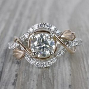 Vintage Style Engagement Ring, 1.63 Carat Excellent Cut Round Diamond Ring In 2-Tone 14k Gold Plated
