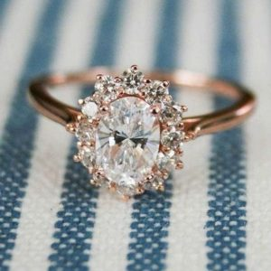 2.10 Carat Oval Cut White Diamond Flower Halo Engagement Ring Real 14k Rose Gold