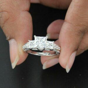 3.Ctw Three Stone Princess Cut Diamond Classic Wedding Engagement Ring 14k White Gold Over