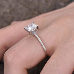 Fancy 2.05 Carat Princess Cut Diamond Solitaire With Accents Engagement Ring 925 Sterling Silver