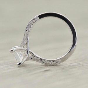 2.31 Carat Princess Cut White Diamond Vintage Engagement Ring Real 14k White Gold