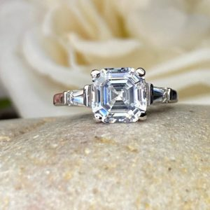 2.38 Carat Solitaire Asscher Cut Diamond With Accents Best Engagement Ring Real 925 Sterling Silver