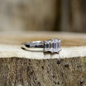3-Stone Engagement Ring, 2.27 Ctw Emerald Cut White Diamond Ring Real 925 Sterling Silver