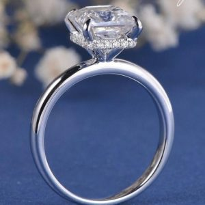 2.40 Ctw Princess Cut Solitaire Diamond Hidden Halo Fancy Engagement Ring Real 10k White Gold